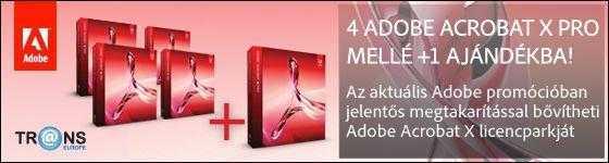 Az aktuális Adobe promócióban jelentős megtakarítással bővíteti Adobe Acrobat licencparkját, ugyanis most 4 db Adobe Acrobat X licencet fizet és 5-öt kap!