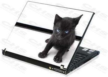 Akció 2012.06.26-ig  Notebook matrica Laptop dekorációs védőfólia ( skin ) Cicás fekete-feh