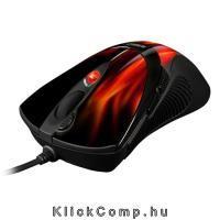Karácsonyi ajándék ötlet 2015: Egér Gamer FireGlider Lézer érzékelő; 600-3600DPI; súlyozható max19,5g; Saját memória; piros tűz mintás