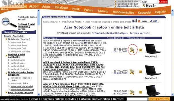 Klick Computer Web Bolt - Kosárba tesz