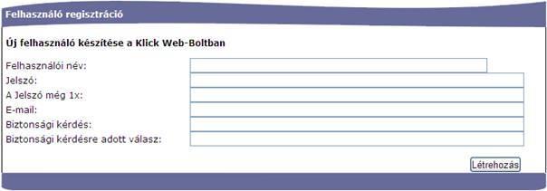 Klick Computer Web Bolt - Regisztráció